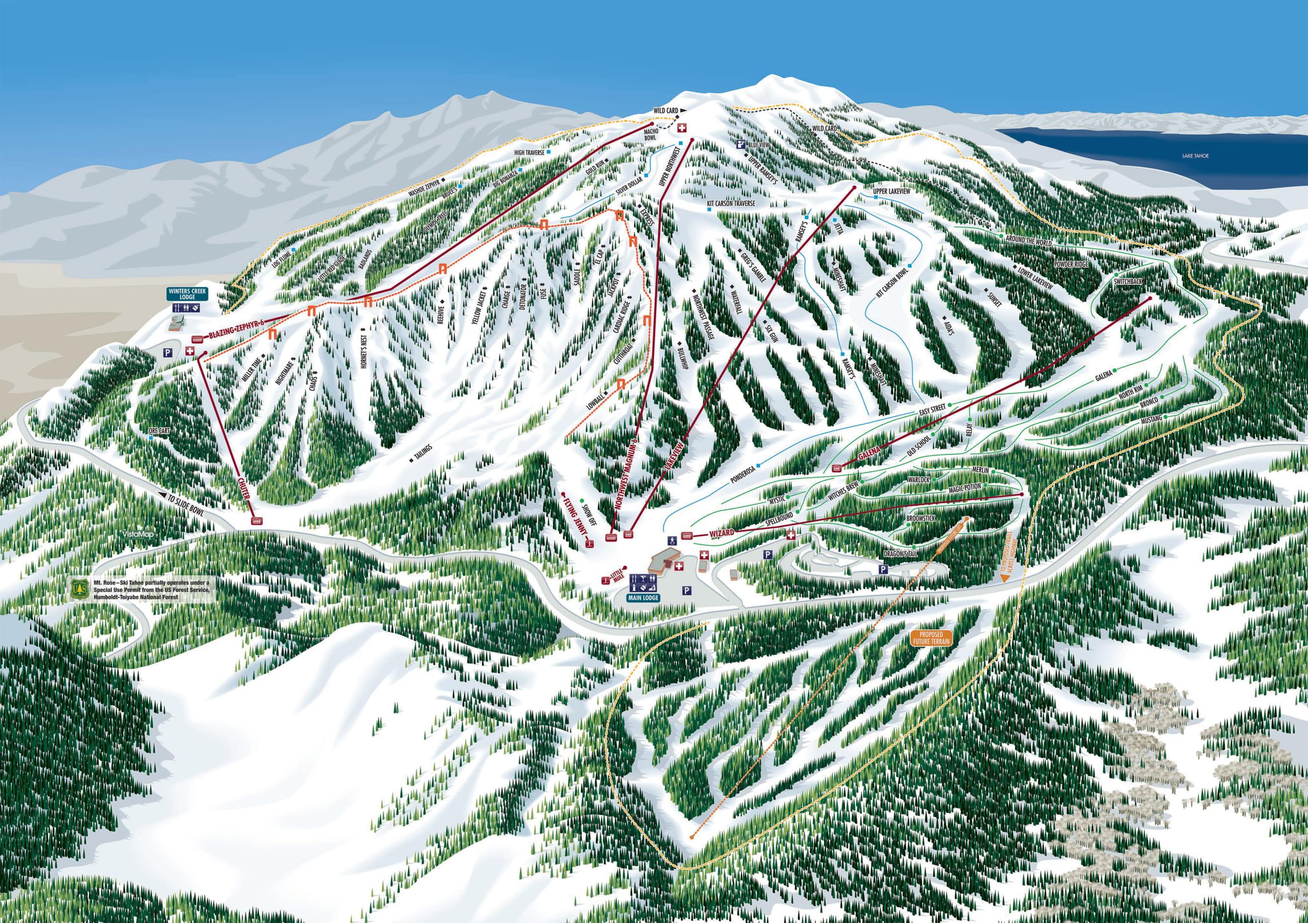 Mount Rose - Ski Tahoe Trail Map